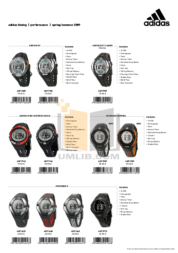 Download free pdf for Adidas ADH1768 Watch manual