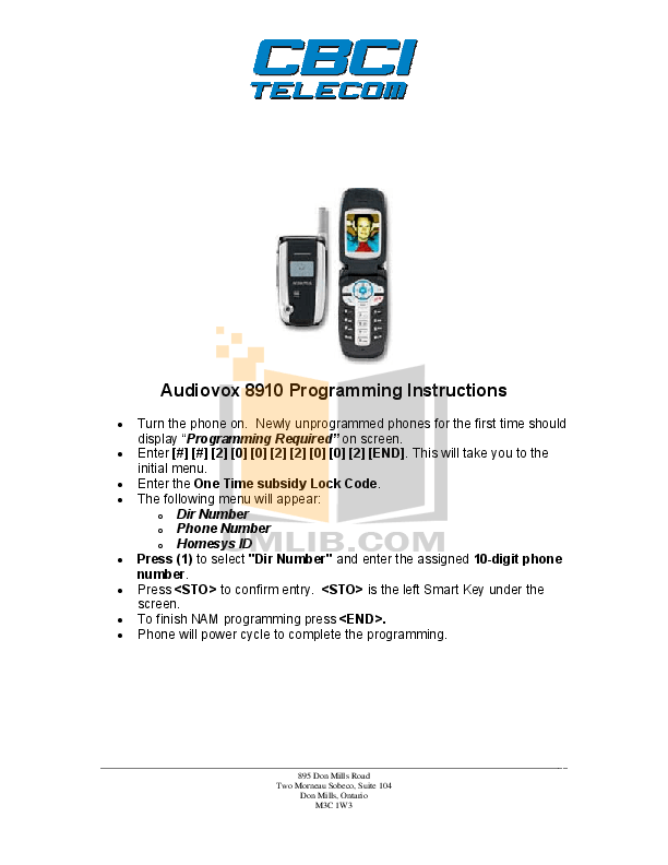 Download free pdf for Audiovox CDM-8910 Cell Phone manual