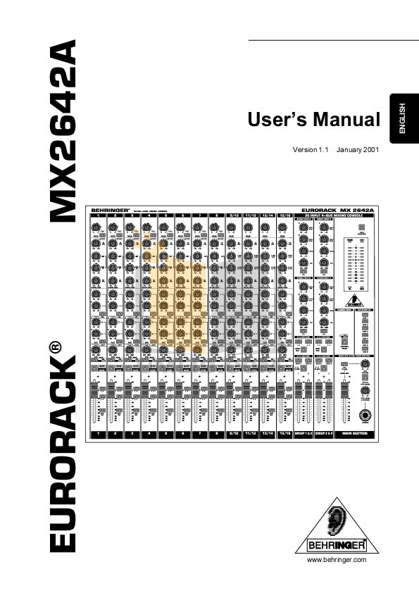 Download free pdf for Behringer Eurodesk MX9000 Mixers
