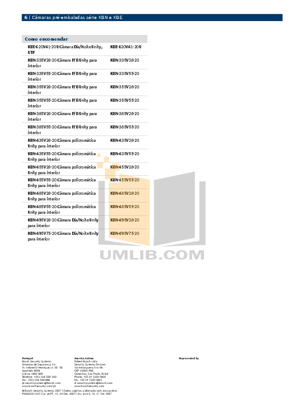 PDF manual for Bosch Security Camera KBE-385V55-20U