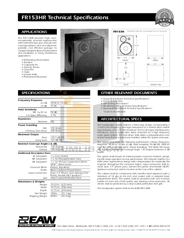 Download free pdf for Eaw FR153Z Speaker manual
