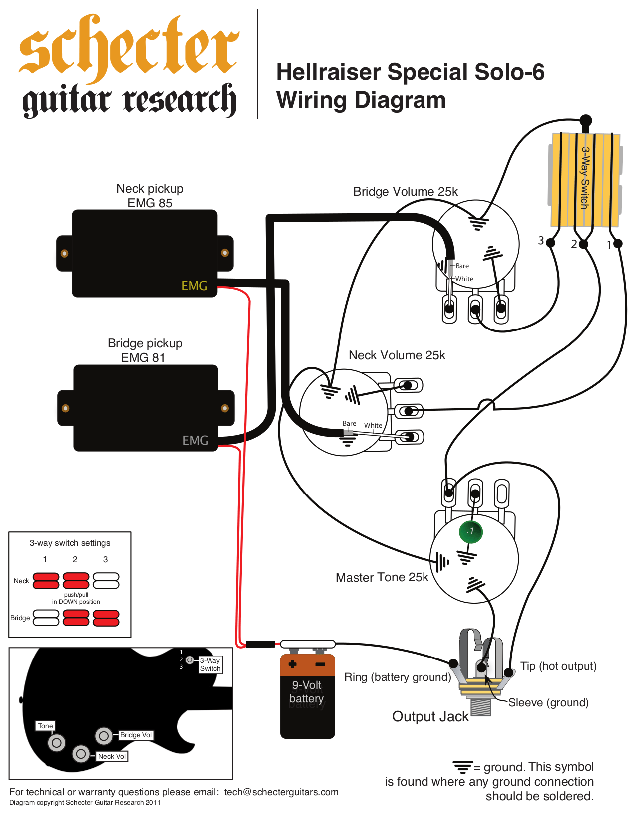 Emg 81 And 85 Wiring Diagram : Emg wiring diagram les paul and white