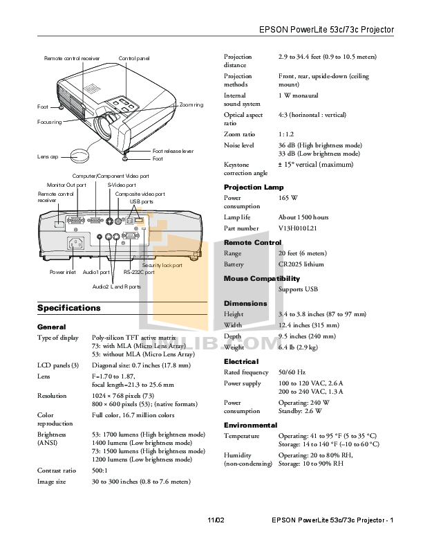 Download free pdf for Epson PowerLite 73c Projector manual