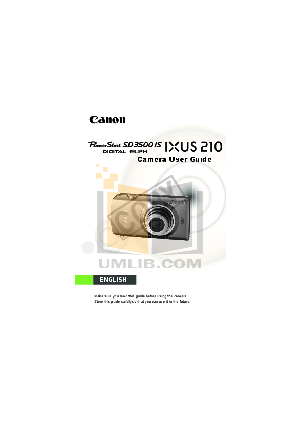 Download free pdf for Canon IXUS 95 IS Digital Camera manual
