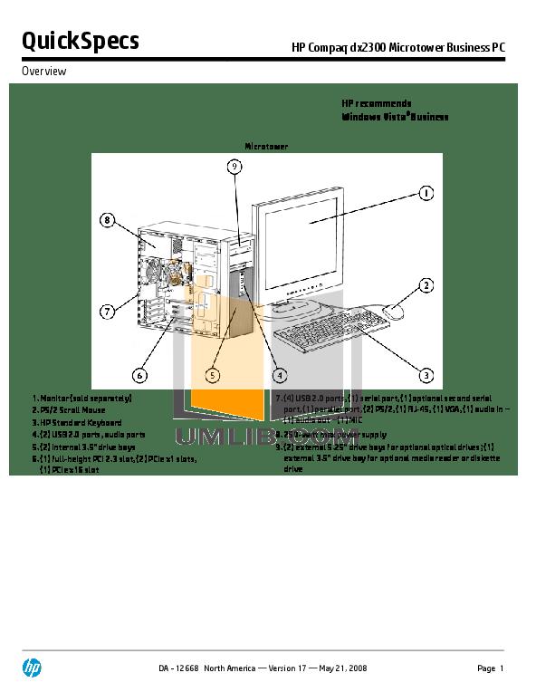 Download free pdf for HP Compaq dx2300 MT Desktop manual