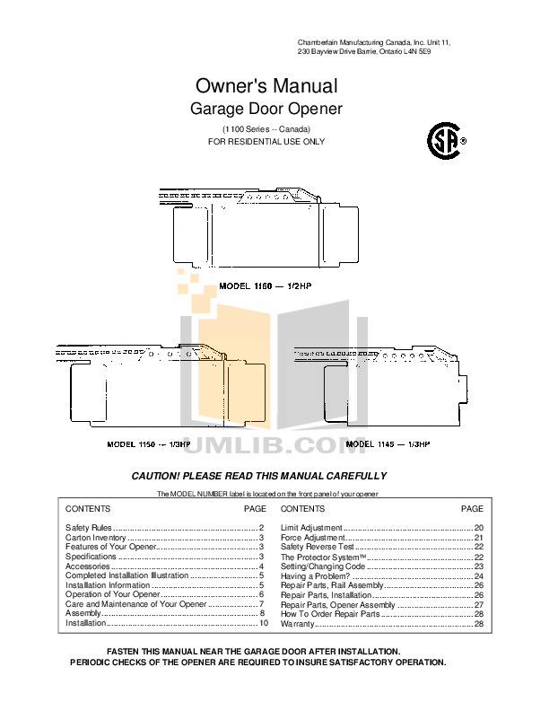 PDF manual for Chamberlain Other 1100 Garage Door Openers