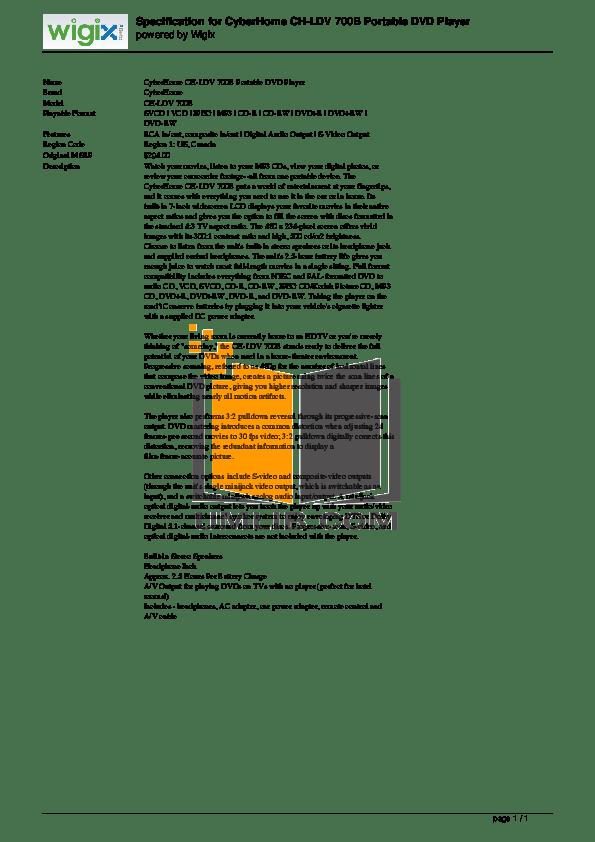 Download free pdf for CyberHome CH-LDV 700B Portable DVD