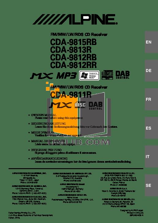 Download free pdf for Alpine CDA-9811 Car Receiver manual