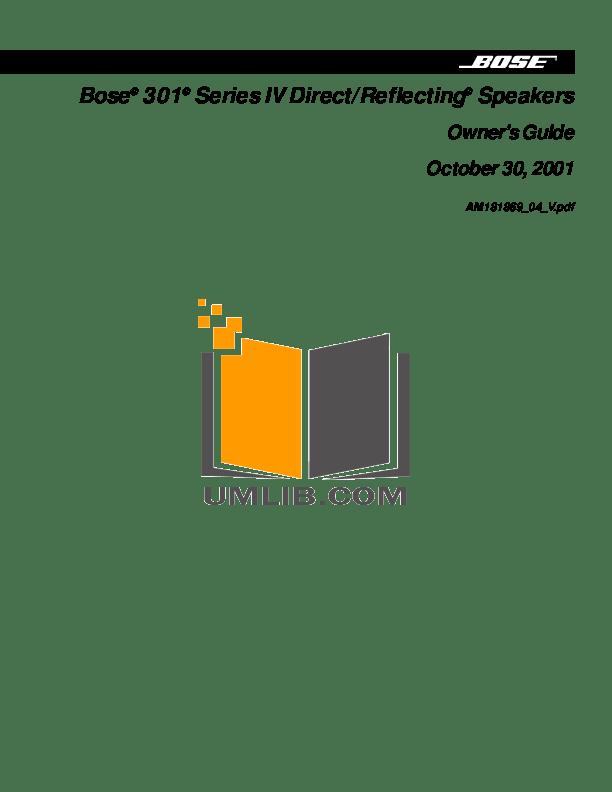 Download free pdf for Bose 301 Series III Speaker manual