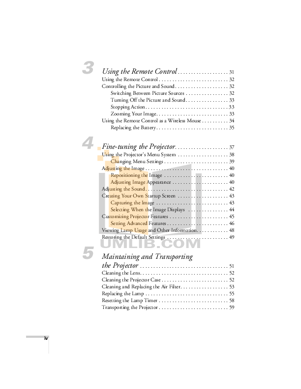PDF manual for Epson Projector PowerLite 53c