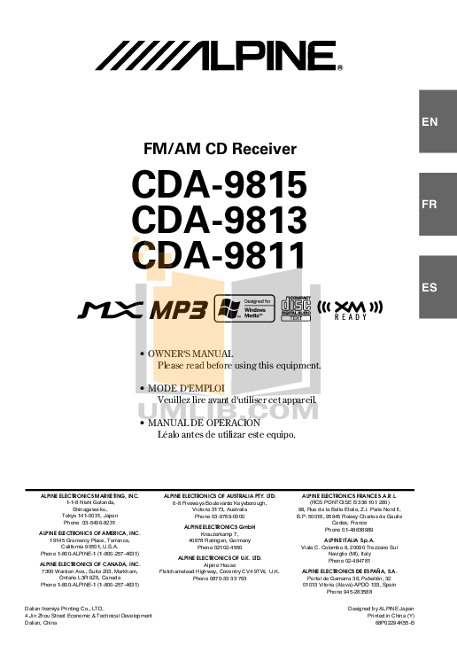 Download free pdf for Alpine CDA-9813 Car Receiver manual