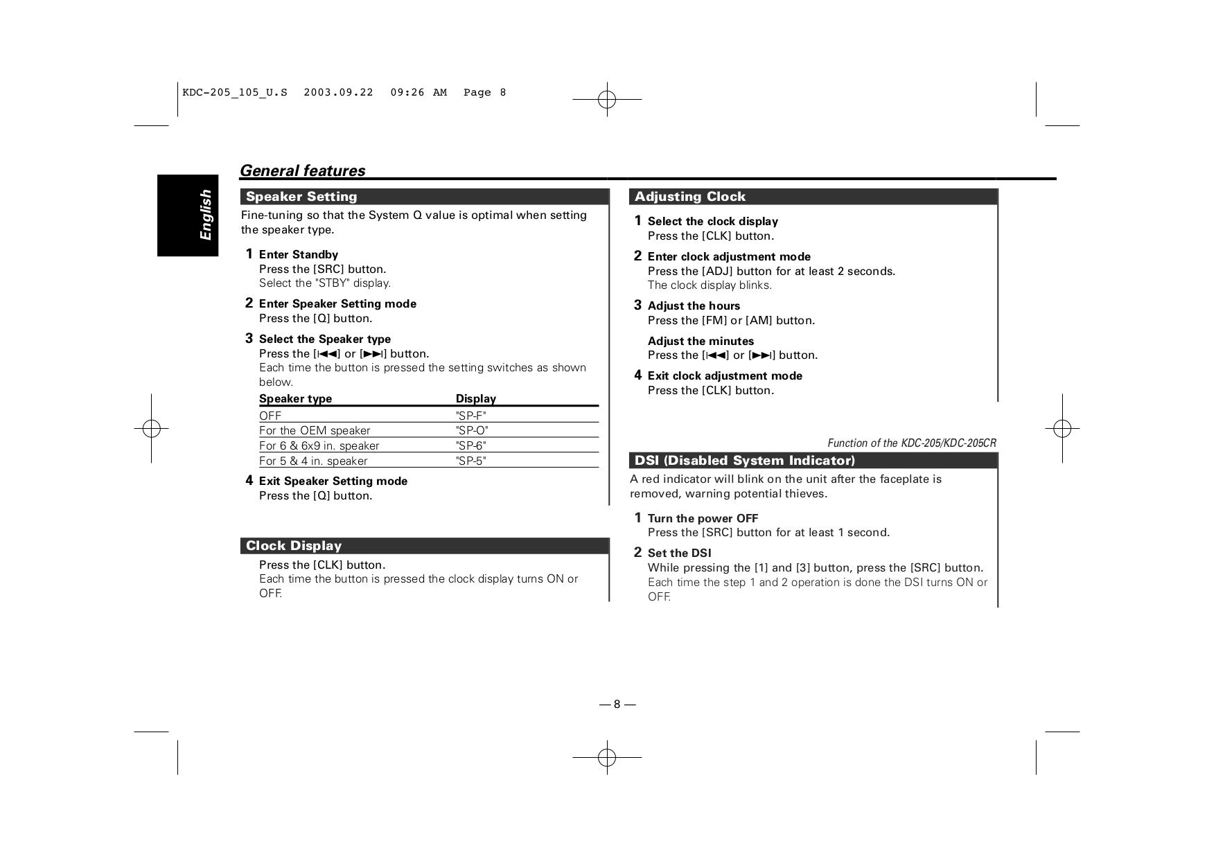 PDF manual for Kenwood Car Receiver KDC-205
