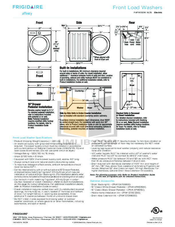 PDF manual for Frigidaire Washer Affinity FAFW3511K