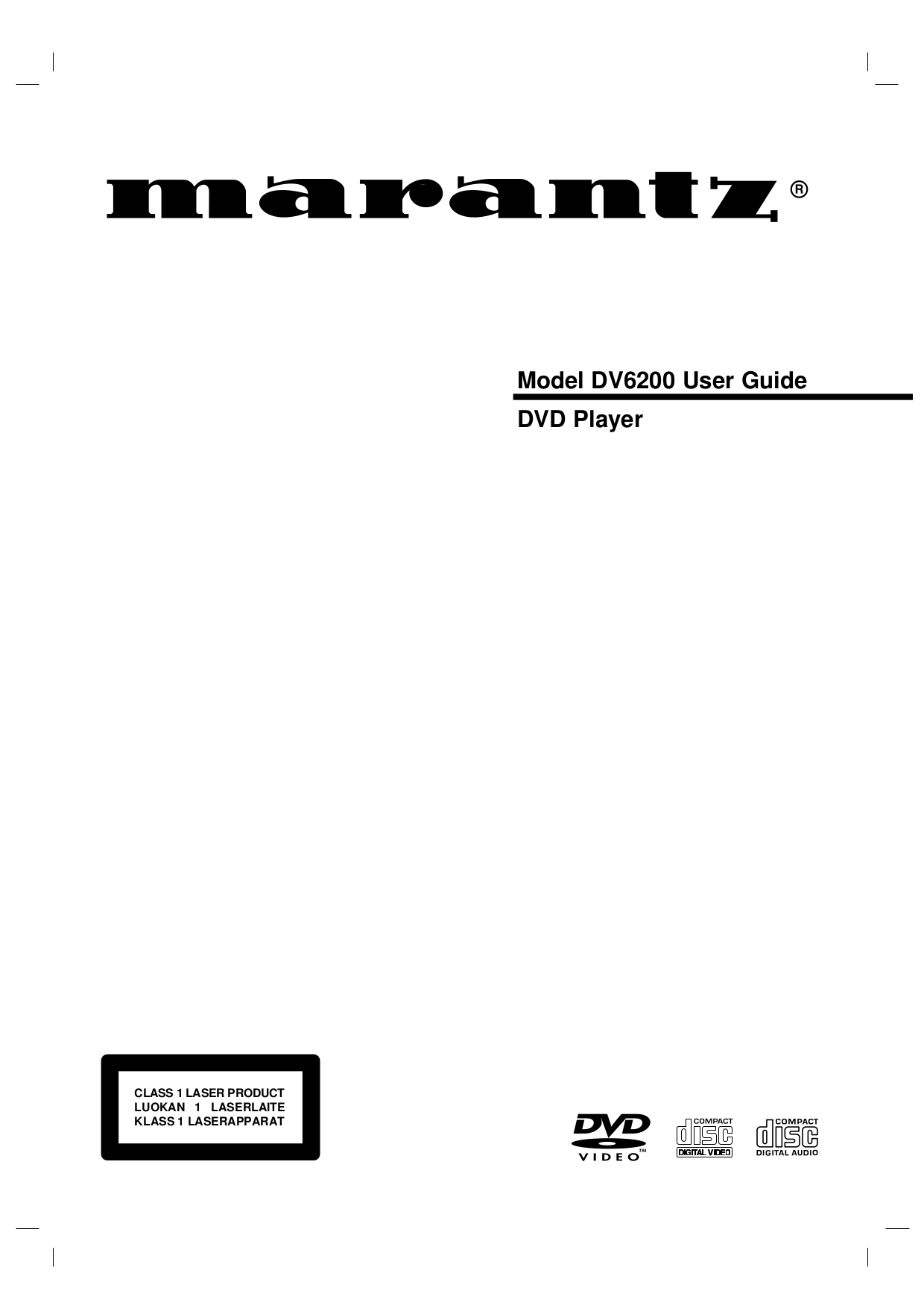 Download free pdf for Marantz DV6200 DVD Players manual