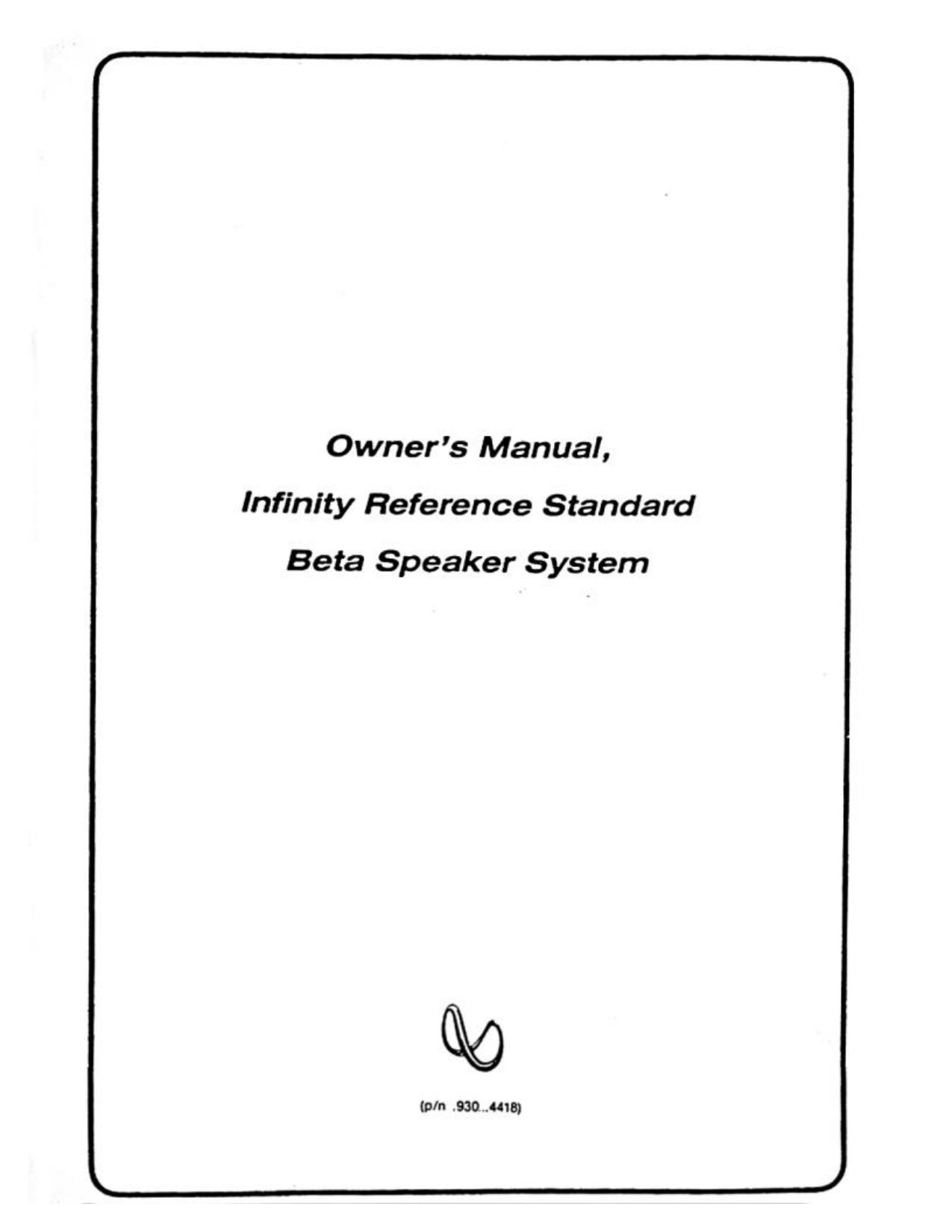 Download free pdf for Infinity Beta 10 Speaker manual