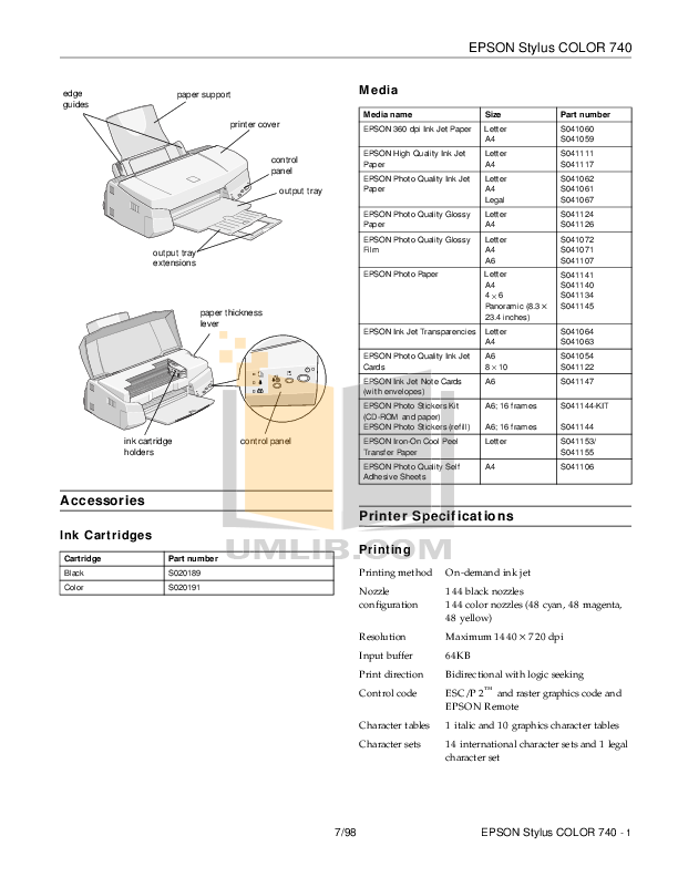 PDF manual for Epson Printer Stylus Color 740i