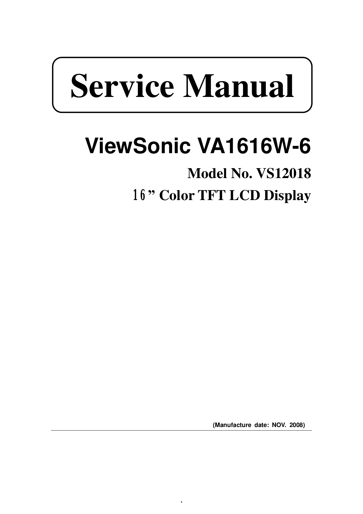 Download free pdf for Viewsonic VA1616W Monitor manual
