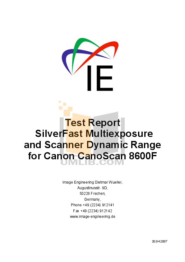 Download free pdf for Canon CanoScan 8600F Scanner manual