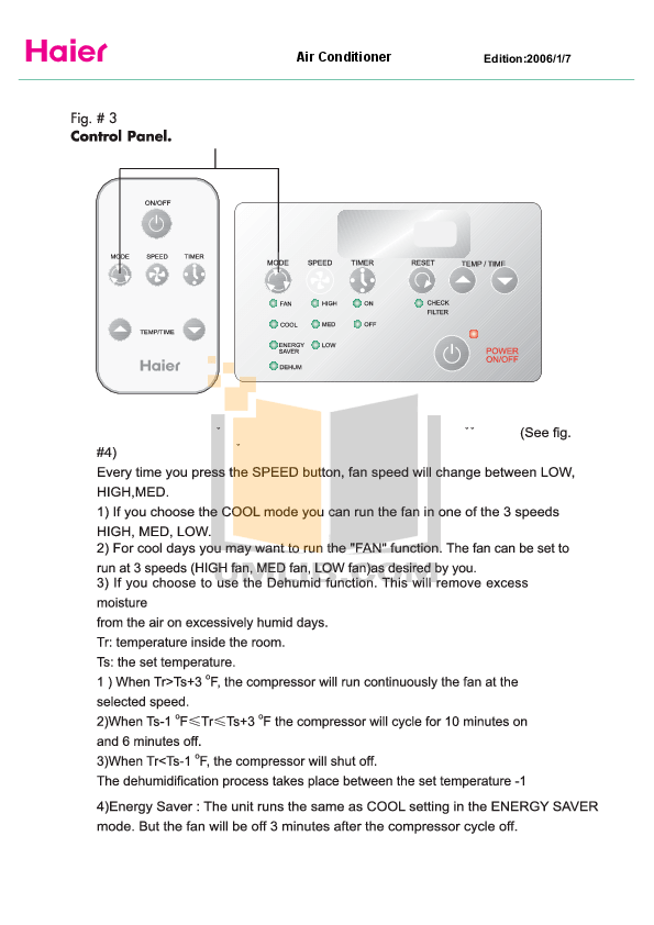 PDF manual for Haier Air Conditioner HTWR08XC6