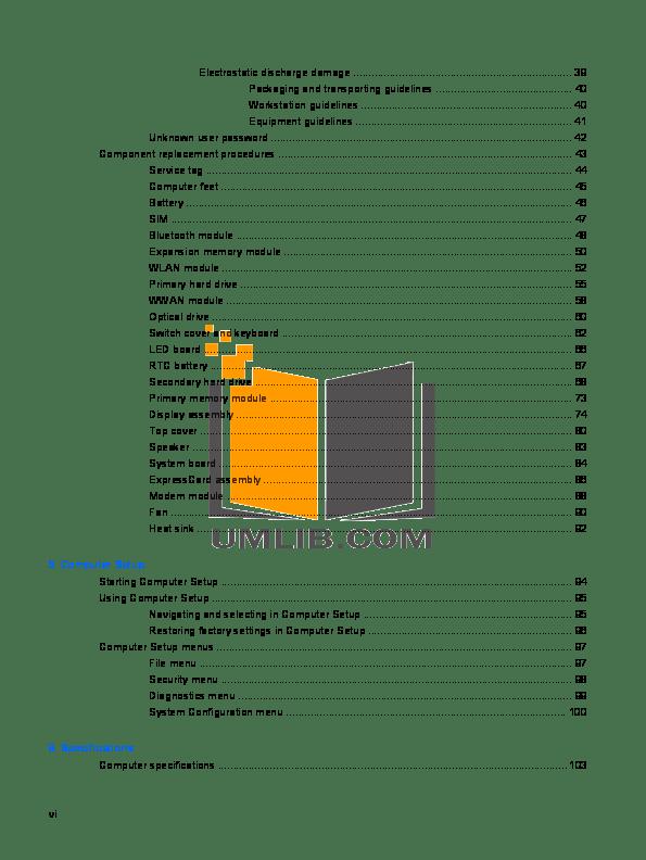 PDF manual for HP Laptop EliteBook 2560p