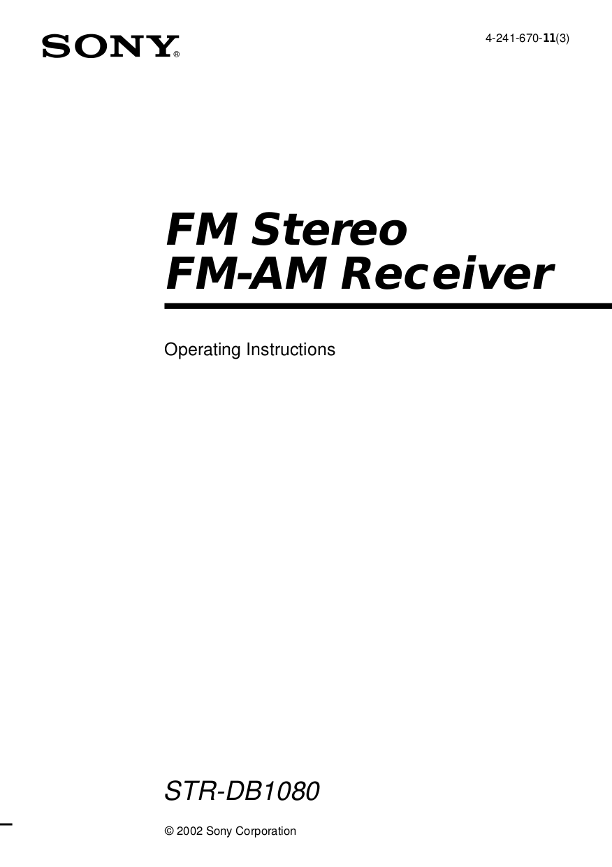 Download free pdf for Sony STR-DB1080 Receiver manual