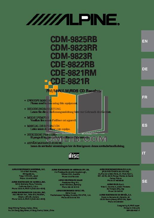 Download free pdf for Alpine CDA-9825 Car Receiver manual
