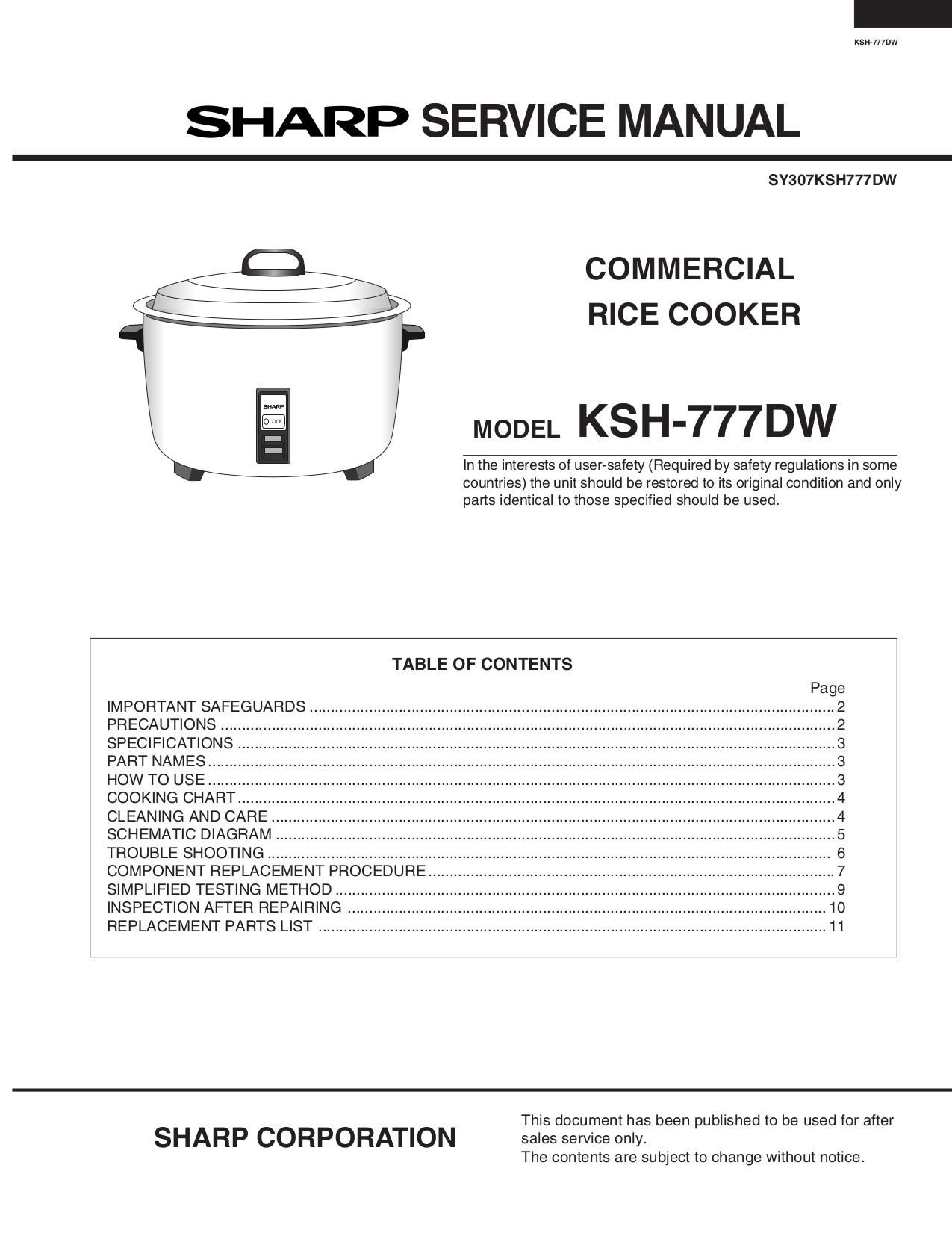 hight resolution of pdf for sharp other ksh 777dw rice cookers manual