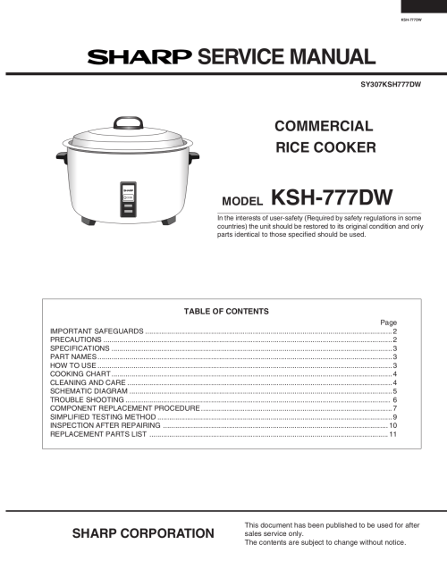 small resolution of pdf for sharp other ksh 777dw rice cookers manual