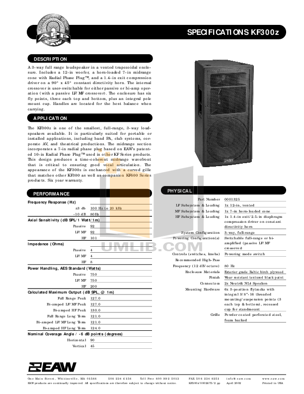 Download free pdf for Eaw KF300i Speaker System manual