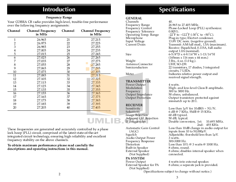 PDF manual for Cobra 2-way Radio microTALK MT 200