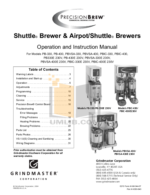 Download free pdf for Grindmaster PB-430 Coffee Maker manual