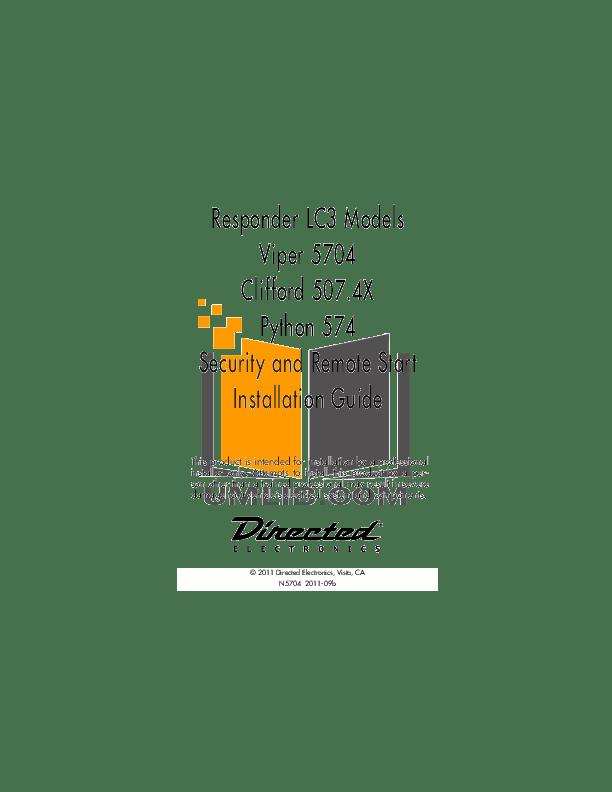 Download free pdf for DEI Clifford Concept 400 Car Alarms