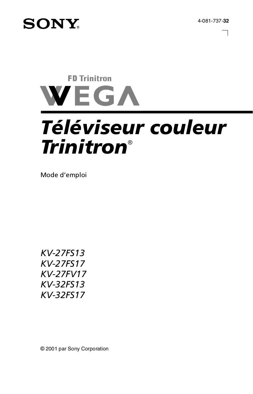 PDF manual for Sony TV WEGA KV-32FS13