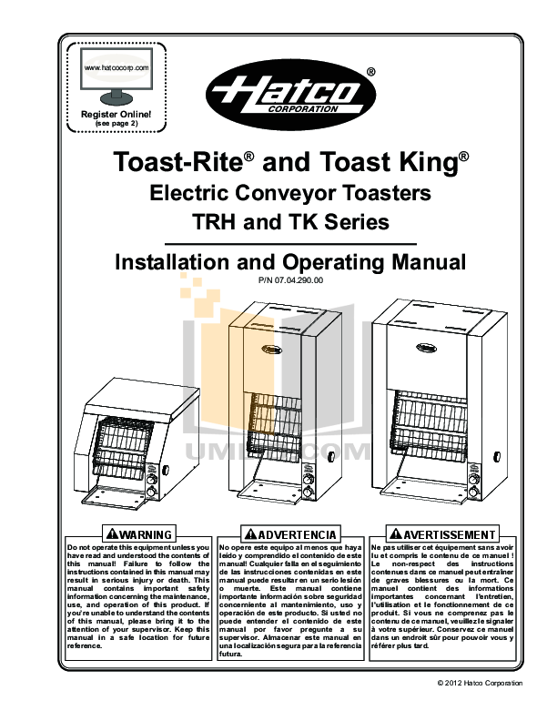 Download free pdf for Hatco GRSR-17 Other manual