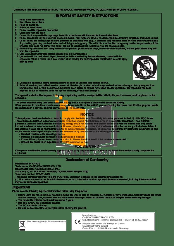 PDF manual for Casio Music Keyboard Celviano AP-80R