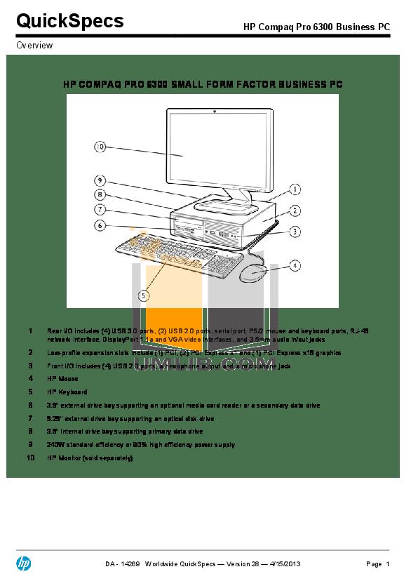 PDF manual for HP Desktop Compaq 6200 Pro SFF
