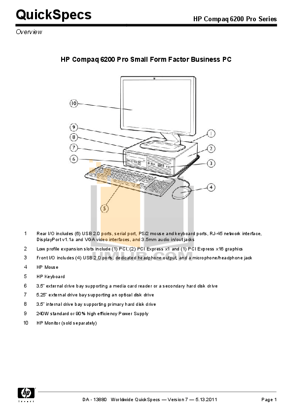 Download free pdf for HP Compaq 6200 Pro SFF Desktop manual