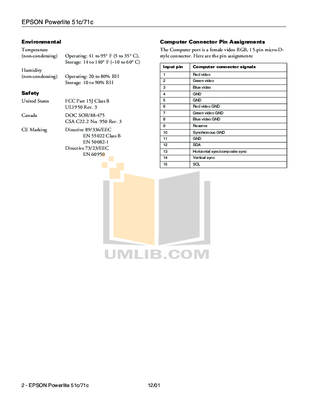 PDF manual for Epson Projector PowerLite 51c