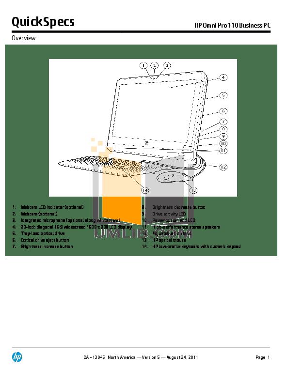Download free pdf for HP Omni Pro 110 Desktop manual