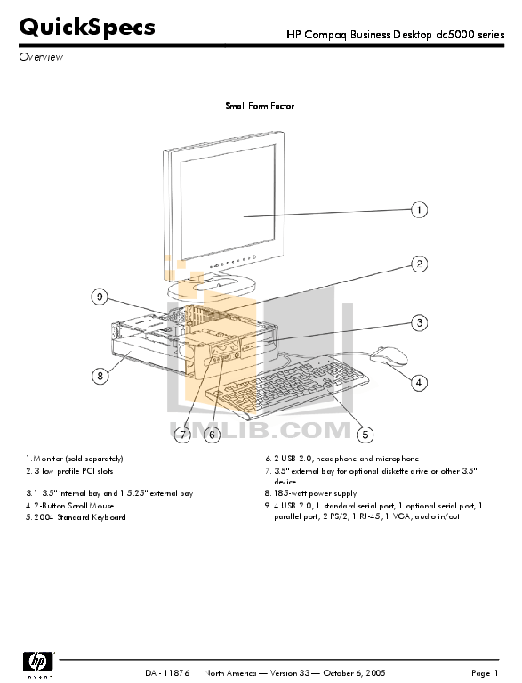 Download free pdf for HP Compaq dc5000 SFF Desktop manual