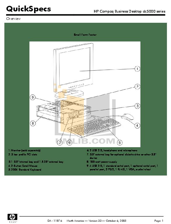 Download free pdf for HP Compaq dc5000 SFF Desktop manual