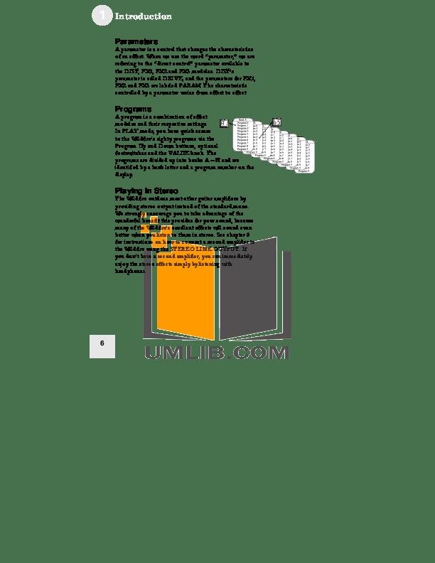PDF manual for Alesis Guitar WildFire 15