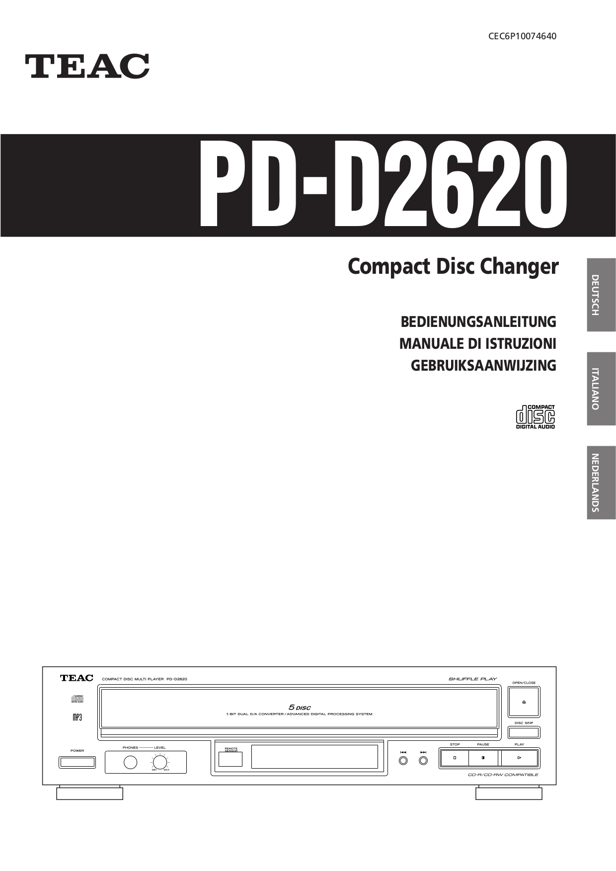Download free pdf for Teac PD-D2610 CD Player manual