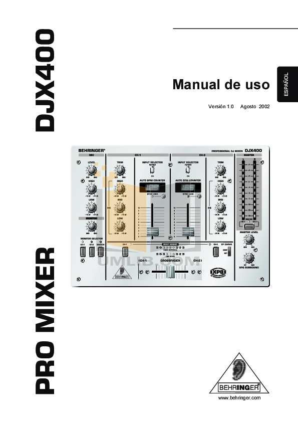 PDF manual for Behringer Other DJX400 Mixers
