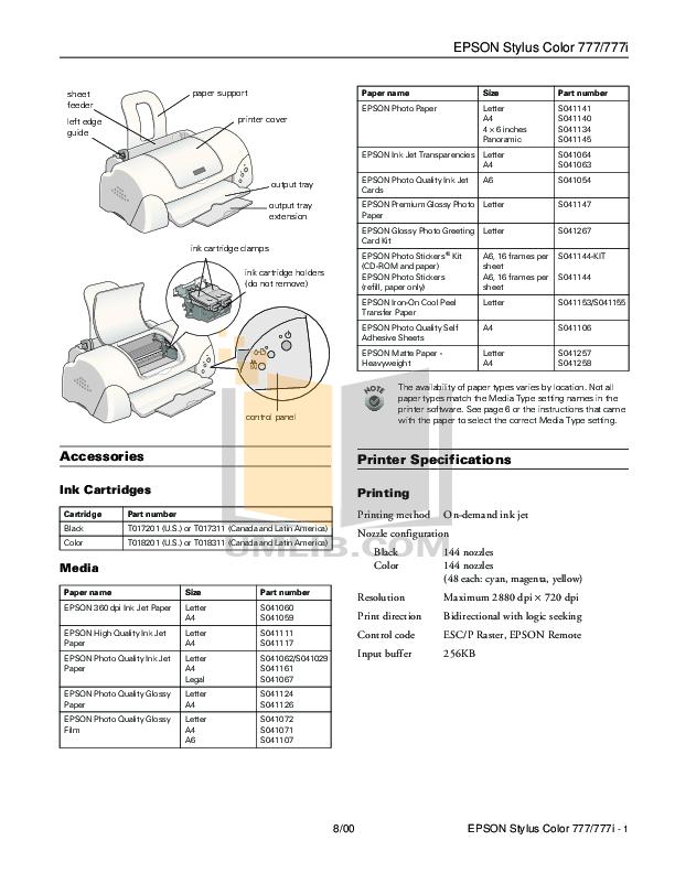 PDF manual for Epson Printer Stylus Color 600Q