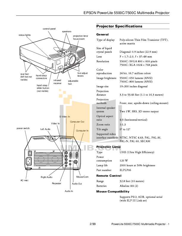 Download free pdf for Epson PowerLite 5500c Projector manual