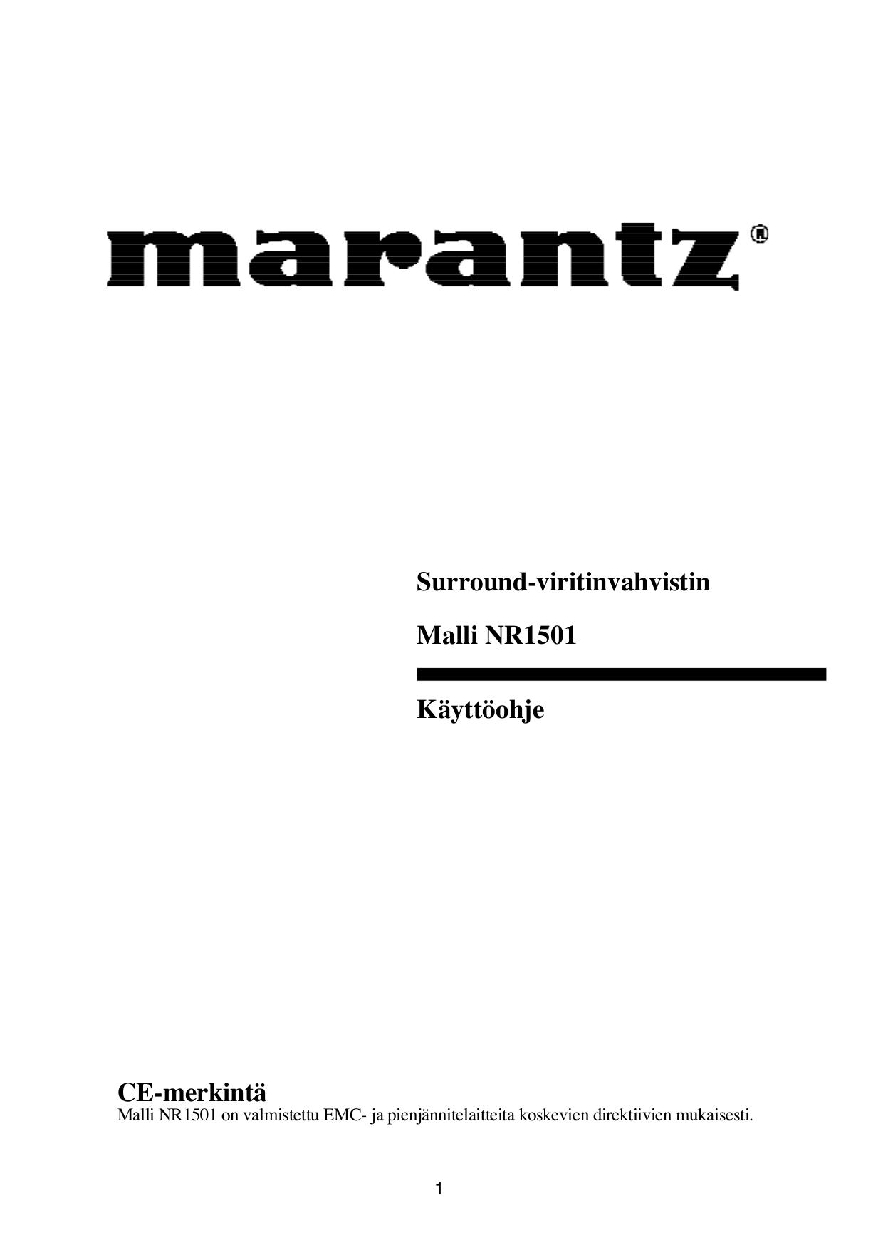 Download free pdf for Marantz NR1501 Receiver manual