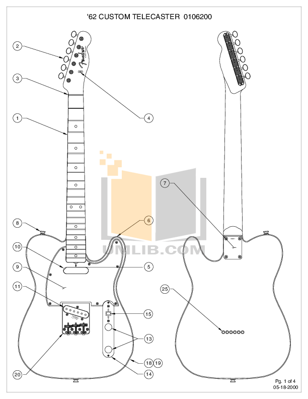 Download free pdf for Fender 62 Custom Telecaster Guitar