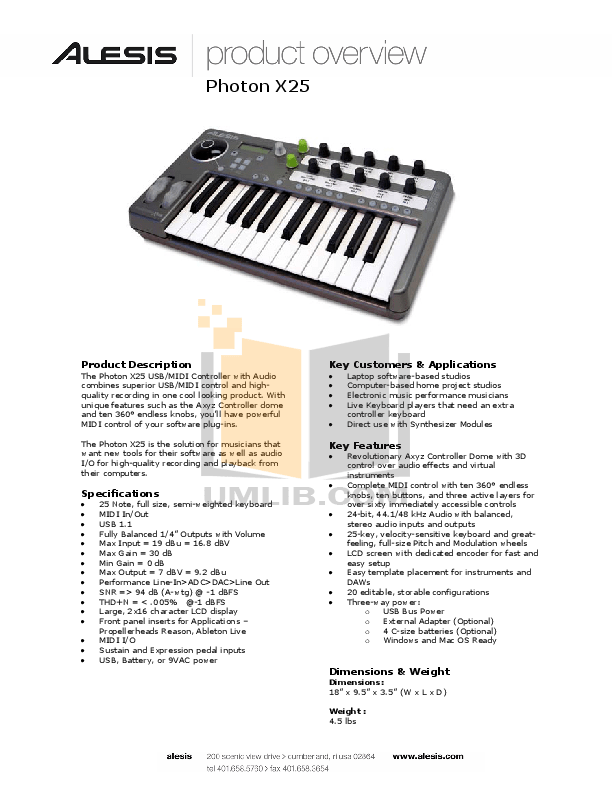 Download free pdf for Alesis Photon X25 Synths Other manual