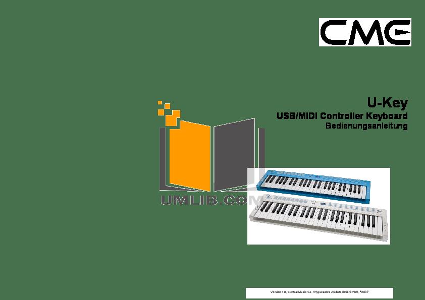 Download free pdf for CME U-Key Music Keyboard manual